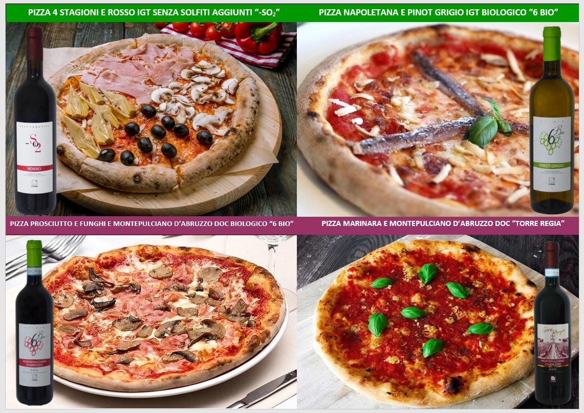 pizza vino biologico montepulciano pinot abbinamento marinara