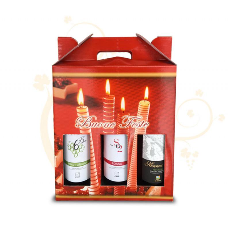 Confezione di Natale per 3 bottiglie tema candele