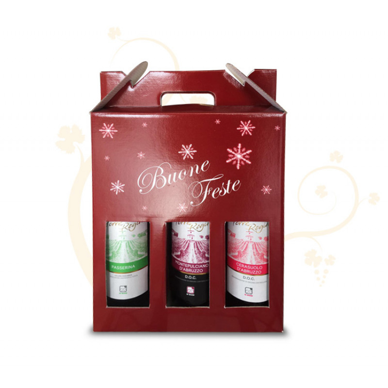 Confezione di Natale per 3 bottiglie tema fiocchi di neve