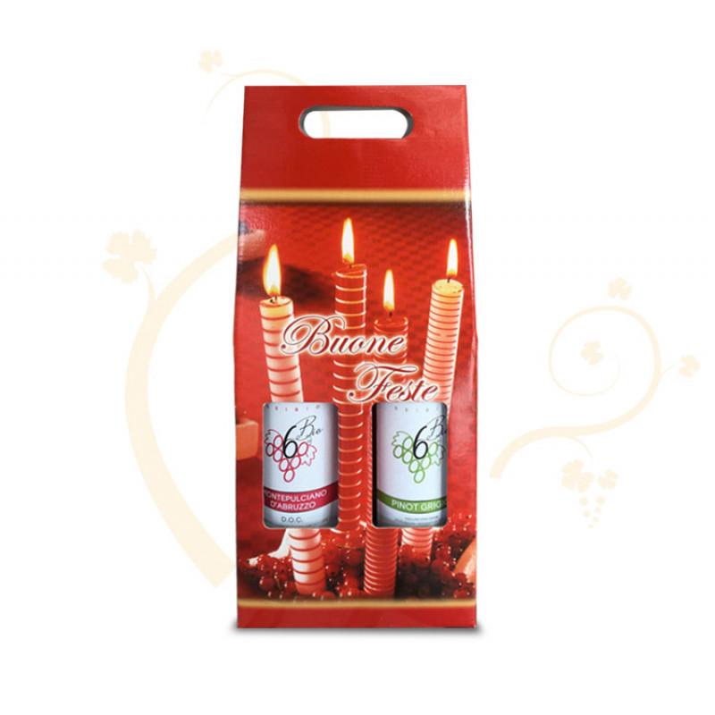 Confezione di Natale per 2 bottiglie tema candele