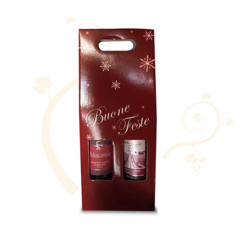 Confezione di Natale per 2 bottiglie tema fiocchi di neve variante 2